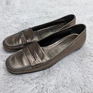 98a6eaddaa7 Prada Metallic Silver Leather Penny Loafers Italy